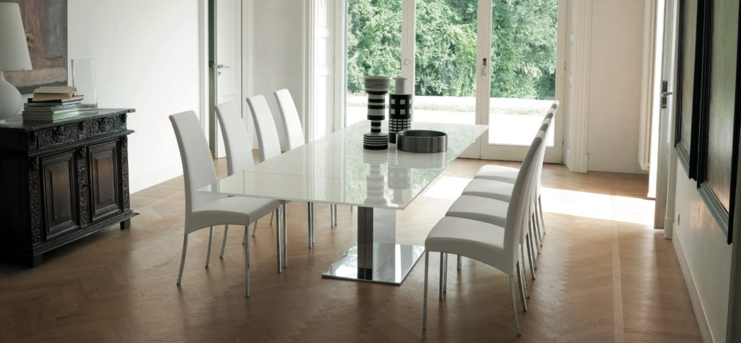 White Glass Extension Dining Table