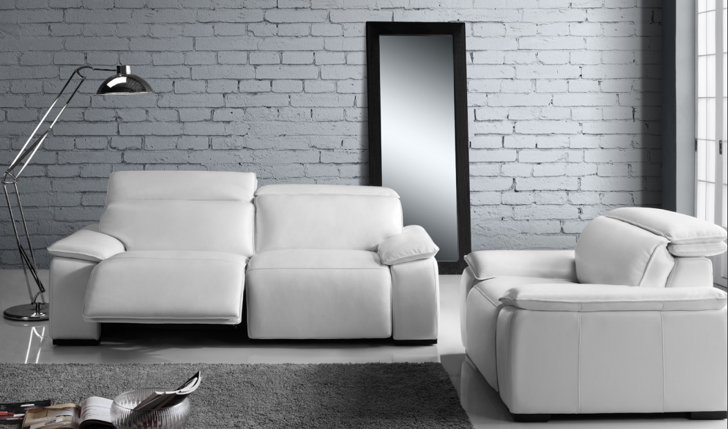 White Leather Recliner Sofa Yorbita